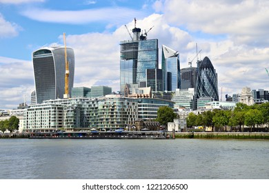 LONDON, ENGLAND - September 2018 - View of London's skyline showing the Gherkin and Walkie-Talkie building