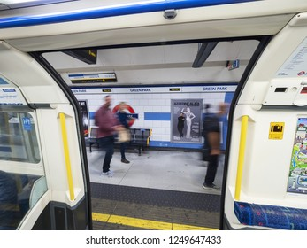 LONDON, ENGLAND - September 21, 2018: Green Park underground station,view from train, LONDON, ENGLAND - September 21, 2018