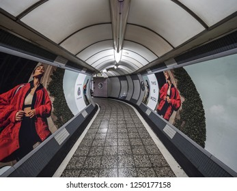 LONDON, ENGLAND - September 21, 2018: the corridor to the London underground station, london underground, LONDON, ENGLAND - September 21, 2018
