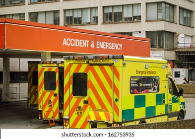 LONDON, ENGLAND - SEPTEMBER 21: Ambulances outside the Accident and Emergency entrance of St Thomas' Hospital in central London on September 21, 2013.  Pressure on the NHS is increasing this winter.