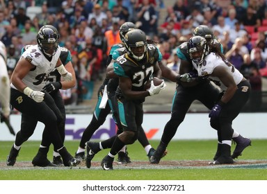 LONDON, ENGLAND - SEPTEMBER 24: Ben Koyack tight end for Jacksonville Jaguars runs with the Ball during the NFL match between The Jacksonville Jaguars and The Baltimore Ravens