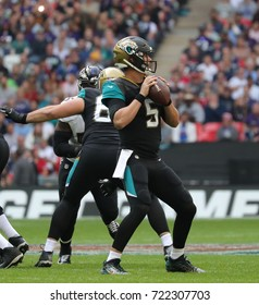 LONDON, ENGLAND - SEPTEMBER 24: Blake Bortles quarterback for Jacksonville Jaguars during the NFL match between The Jacksonville Jaguars and The Baltimore Ravens at Wembley Stadium