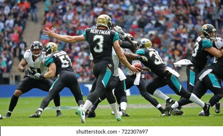 LONDON, ENGLAND - SEPTEMBER 24: Brad Nortman of Jacksonville Jaguars kicks the ball during the NFL match between The Jacksonville Jaguars and The Baltimore Ravens at Wembley Stadium on September 24