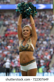 LONDON, ENGLAND - SEPTEMBER 24: A Jaguars cheerleader  during the NFL match between The Jacksonville Jaguars and The Baltimore Ravens at Wembley Stadium on September 24, 2017 in London