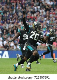 LONDON, ENGLAND - SEPTEMBER 24: Jalen Ramsey defensive back for Jacksonville Jaguars celebrates catching an interception during the NFL match between The Jacksonville Jaguars and The Baltimore Ravens