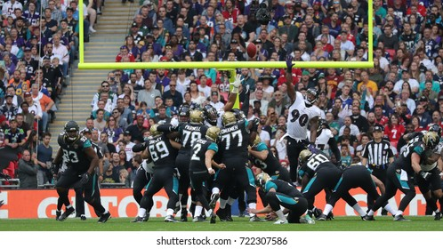 LONDON, ENGLAND - SEPTEMBER 24: Jason Myers of Jacksonville Jaguars kicks a field goal during the NFL match between The Jacksonville Jaguars and The Baltimore Ravens