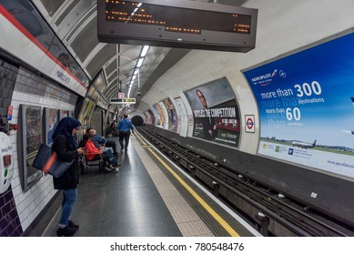 LONDON, ENGLAND - SEPTEMBER 25, 2017: London Underground Station. Marble Arch subway stop.