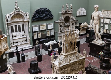 London, England - September 26 2019: the Cast Courts of the Victoria and Albert Museum with its famous sculptures.