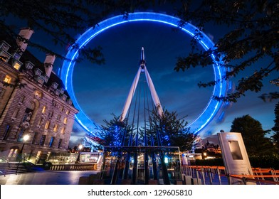 LONDON, ENGLAND - SEPTEMBER 26: London Eye on September 26th 2012 in London. The 135 meter landmark is a giant Ferris wheel situated on the banks of the River Thames in London, England.
