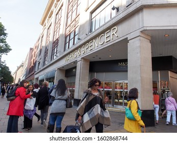 London, England - September 28 2015 : The British Marks & ​​Spencer shop at Tottenham Court Road