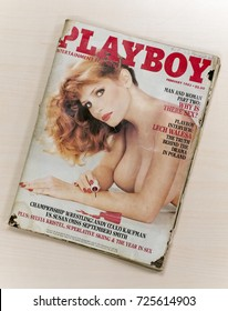 London, England - September 28, 2017: Playboy Magazine, A magazine for men first published in 1953 by Hugh Hefner, The publication went on to sell millions worldwide.