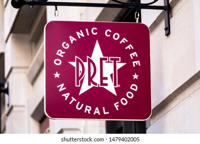 London, England - September 29, 2007: Pret Food and Coffee Shop Sign, Pret a Manger was founded in 1983 in the United Kingdom.