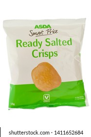 London, England - September 29, 2010: Asda Smart Price Ready Salted Crisps, Asda introduced a cheap range of food products with plain packaging