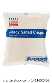 London, England - September 29, 2010: Tesco Value, Ready Salted Flavoured Crisps, Tesco introduced a cheap range of food products with plain packaging