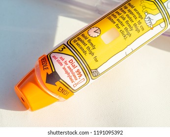 London, England - September 29, 2018: Epinephrine Autoinjector or Epipen is a medical device for injecting doses of epinephrine or adrenaline through a needle into a patient suffering an allergy.