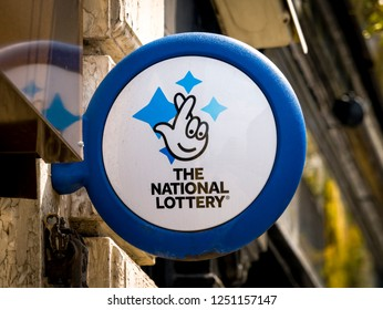 London, England - September 29, 2018: The National Lottery Sign, The National Lottery is operated by Camelot Group since the first draw in November 1994.