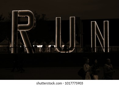 LONDON, ENGLAND, SEPTEMBER 5TH 2012: Run letters in gold at the COPPER BOX ARENA in the London Olympic park stadium.