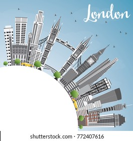London England Skyline with Gray Buildings, Blue Sky and Copy Space.