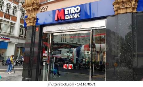 London, England, UK 05/29/2019 A view of a branch of Metro Bank exterior.