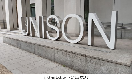 London, England, UK 05/29/2019 A view of the silver sign / letters outside the Unison building in London.