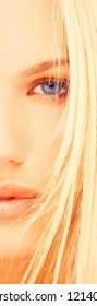 London, England, UK 07/09/2015 Sultry blonde woman cropped portrait