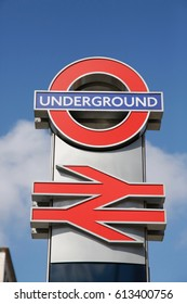 LONDON, ENGLAND, UK – 2 APRIL 2017: A close up of the London Underground sign.