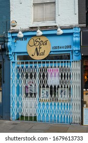 London, England, UK - 21 March 2020: Nail Shop closed and barred following the Government's announcement to close down pubs/bars/restaurants to prevent the spread of Covid-19