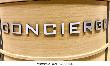 London, England/ UK: 27 January 2019- A concierge desk in a building near Kingston upon Thames area