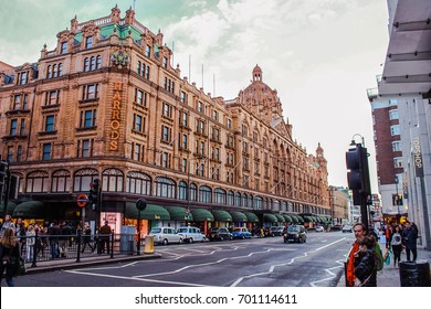 LONDON, ENGLAND, UK - APR 12, 2012: Harrods Mega Store Street View