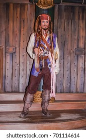 LONDON, ENGLAND, UK - APR 12, 2012: Madame Tussaud Wax Museum Model Jack Sparrow Johnny Depp