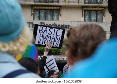 London England UK, April 6th 2019. British Human Rights campaigner Peter Tatchell leads the protest outside the Dorchester Hotel London to repeal the laws of death by stoning to homosexuals in Brunei.