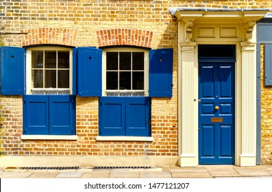 London, England, UK, August, 11th, 2019. Houses of Fournier Street, formerly Church Street, is an 'east-end' street of 18th-century houses in Spitalfields in Central London in the East End