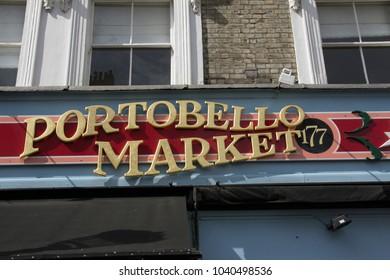 London, England, UK - August 20, 2011: Portobello Market Sign;