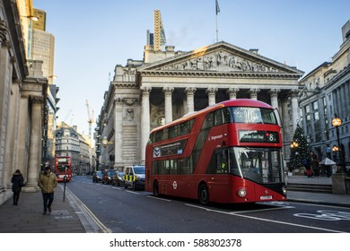 London, England, UK - DEC 28, 2016: The Royal Exchange at Cornhill and Threadneedle street, Bank junction, Bank financial district, City of London, United Kingdom