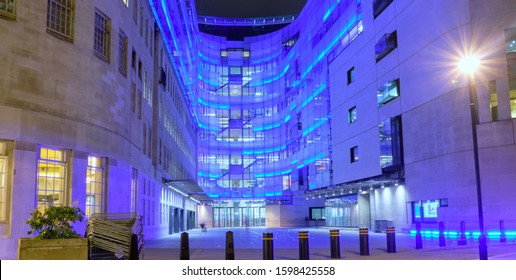 London, England, Uk, December, 24th, 2019. The BBC Broadcasting building on Portland Place, London W1A 1AA