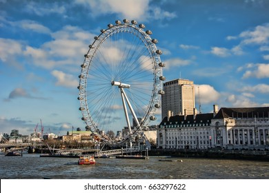 London, England, UK - February, 2016: View of the London Eye on the South Bank of the River Thames. Also known as the Millennium Wheel, when erected in 1999 it was the world's tallest Ferris wheel.