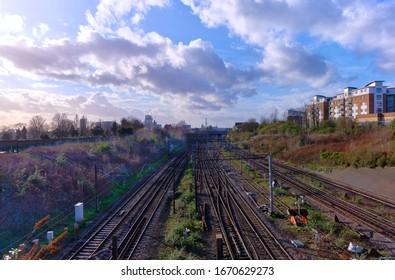 London, England, uk, Februray, 11th. 2020. Euston main line and bakerloo underground  railway tracks.