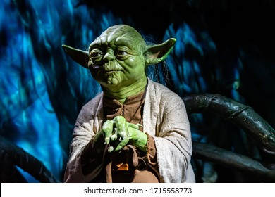 London, England, UK - January 2, 2020: Waxwork statues of Master Yoda from Star Wars, Madame Tussauds waxwork museum, one of the popular touristic attractions