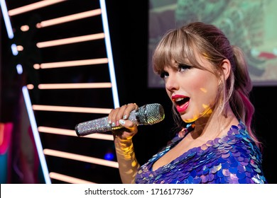 London, England, UK - January 2, 2020: Waxwork statues of Taylor Swift,  Madame Tussauds waxwork museum, one of the popular touristic attractions
