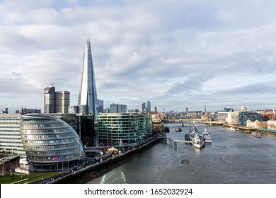 London, England, UK - January 3, 2020: Aerial view on thames and london city