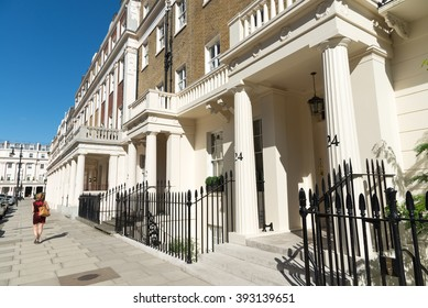 LONDON, ENGLAND, UK - JULY 19, 2015: Apartment buildings on Eaton Place in the upmarket district of Belgravia in London