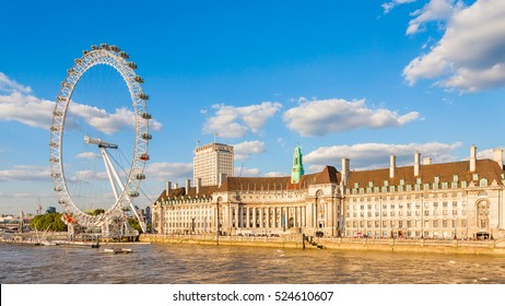 London, England, UK - July 29, 2014: View of the London Eye on the South Bank of the River Thames. Also known as the Millennium Wheel, when erected in 1999 it was the world's tallest Ferris wheel.