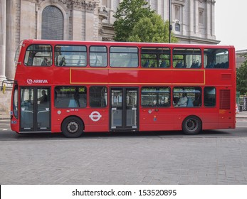 LONDON, ENGLAND, UK - JUNE 18: Traditional double decker red bus on June 18, 2011 in London, England, UK