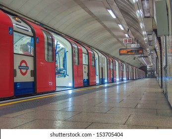 LONDON, ENGLAND, UK - JUNE 19: Train departing from an underground Tube Station on June 19, 2011 in London, England, UK