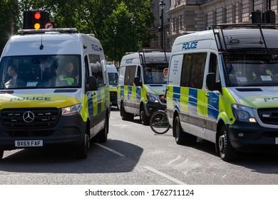 London, England / UK - june 20th 2020: Police vans at black lives matter protest