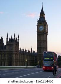 London / England UK - June 29, 2014: Westminster bridge, Houses of Parliament, and London Big Ben