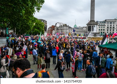 London, England, UK. June 4th, 2019. Crowds gather in Trafalgar Square to protest the state visit of President Donald Trump. Protestors marched with banners and placards against Trump's policies.