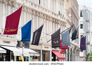 LONDON, ENGLAND, UK - JUNE 7, 2008:  Upmarket fashion shops in New Bond Street in central London