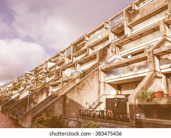 LONDON, ENGLAND, UK - MARCH 04, 2009: The Alexandra Road estate designed in 1968 by Neave Brown is a masterpiece of new brutalist architecture vintage