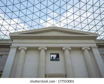 LONDON, ENGLAND, UK - MARCH 06, 2009: Tourists visiting the new Great Court at the British Museum designed by Lord Norman Foster
